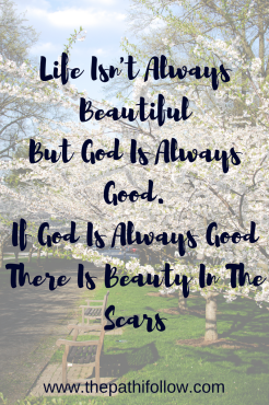 Life Isn't Always Beautiful, But God Is Always Good.If God Is Always GoodThere Is Beauty In The Scars